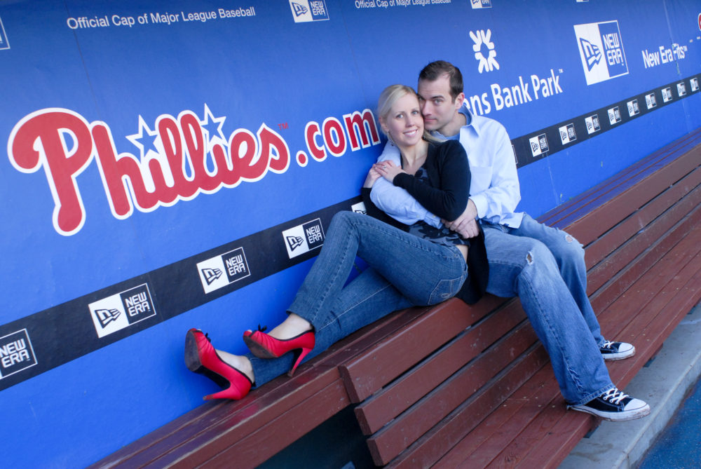 Couple Poses in Dugout
